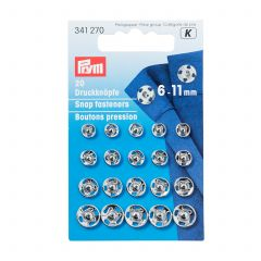 Prym Sew-On Snap Fasteners 6-11mm Silver