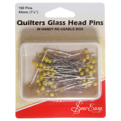 Sew Easy Quilters Glass Head Pins 45Mm (100)