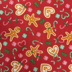 Polycotton - Gingerbread Man Red (24593)