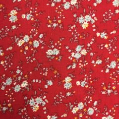 Viscose Floral Red (24995) - End of Bolt 1m piece