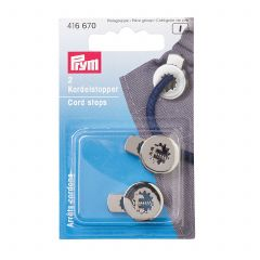 Prym Cord Stops 1 Hole Antique Silver