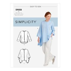 Simplicity Pattern S9058 Misses` Shirt With Drape Variations