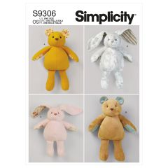 Simplicity Pattern S9306 Plush Bears & Bunnies in Two Sizes
