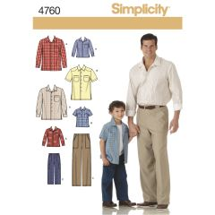 Simplicity Pattern 4760 Boys and Men Shirts and Trousers