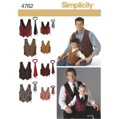 Simplicity Pattern 4762 Boys and Men Vests and Ties