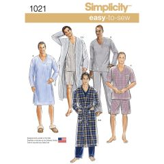 Simplicity Pattern 1021 Men`s Classic Pyjamas & Robe