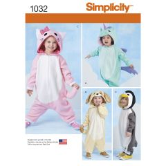 Simplicity Pattern 1032 Toddlers` Animal Costumes