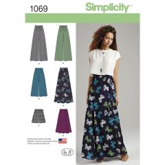 Simplicity Pattern 1069 Women`s Wide Leg Trousers or Shorts & Skirts in 2 Lengths