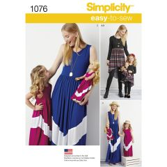 "Simplicity Pattern 1076 Child`s and Women`s Maxi Dress and 18"" Doll Clothes"