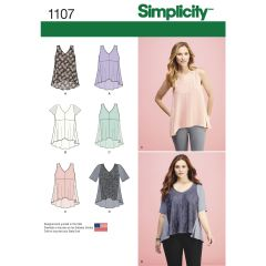 Simplicity Pattern 1107 Women`s Tops with Fabric Variations