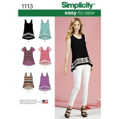 Simplicity Pattern 1113 Women`s Easy-To-Sew Knit Tops