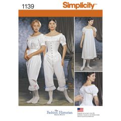 Simplicity Pattern 1139 Women`s Civil War Undergarments