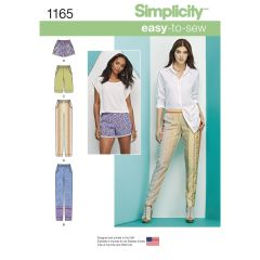 Simplicity Pattern 1165 Women`s Pull-on Trousers, Long or Short Shorts