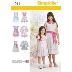 Simplicity Pattern 1211 Child`s and Girls` Dress in two lengths