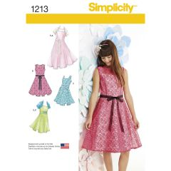 Simplicity Pattern 1213 Girls` & Girls` Plus Size Dresses and Knit Shrug