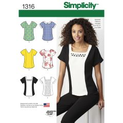 Simplicity Pattern 1316 Women`s Top with Neckline Variations