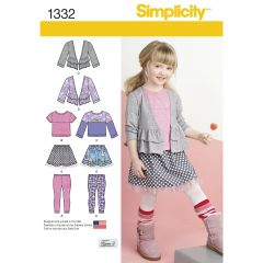 Simplicity Pattern 1332 Child`s Skirt and Knit Leggings, Top and Cardigan
