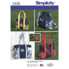 Simplicity Pattern 1338 Tote Bags in Three Sizes, Backpack and Coin Purse