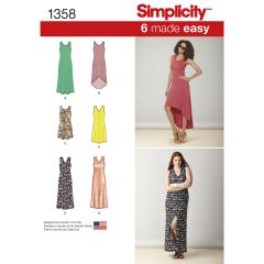 Simplicity Pattern 1358 Women`s Knit Dresses with Length and Neckline Variations