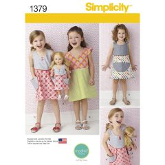"""Simplicity Pattern 1379 Child`s Dress and Dress for 18"""" Doll"""