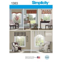 "Simplicity Pattern 1383 Valances for 36"" to 40"" Wide Windows"