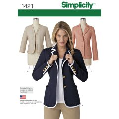 Simplicity Pattern 1421 Women`s Unlined Jacket with Collar and Finishing Variations