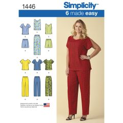 Simplicity Pattern 1446 Six Made Easy Pull on Tops and Trousers or Shorts for Plus Size