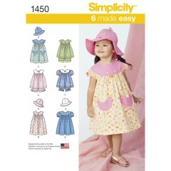 Simplicity Pattern 1450 Toddlers` Dress, Top, Panties and Hat