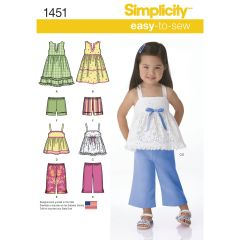 Simplicity Pattern 1451 Toddlers` Dresses, Top, Cropped Trousers and Shorts