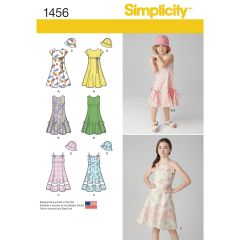 Simplicity Pattern 1456 Child`s and Girls` Dress with Bodice Variations and Hat