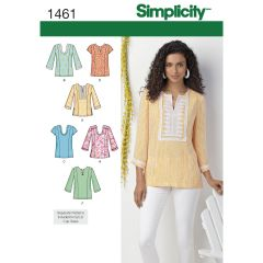 Simplicity Pattern 1461 Women`s and Plus Tunic with Neckline and Sleeve Variations