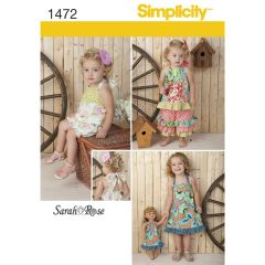 """Simplicity Pattern 1472 Toddlers` Romper, Dress, Top, Trousers & 18"""" Doll Dress"""