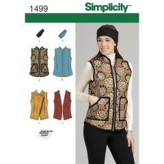 Simplicity Pattern 1499 Women`s Vest and Headband in Three Sizes