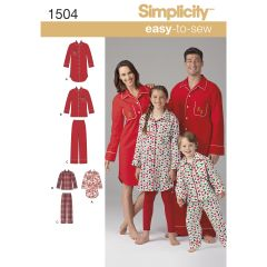 Simplicity Pattern 1504 Child`s, Teens` and Adults` Loungewear