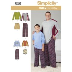 Simplicity Pattern 1505 Husky Boys` and Big & Tall Men`s Tops and Trousers