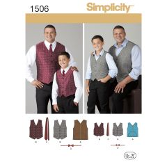 Simplicity Pattern 1506 Husky Boys` and Big and Tall Men`s Vests