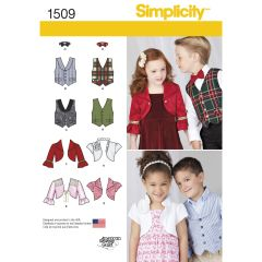 Simplicity Pattern 1509 Child`s Vest, Bolero and Bow Tie