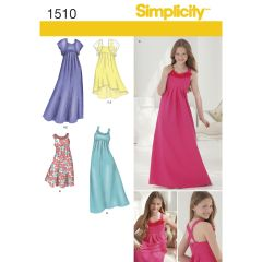 Simplicity Pattern 1510 Girls` & Girls` Plus Special Occasion Dress