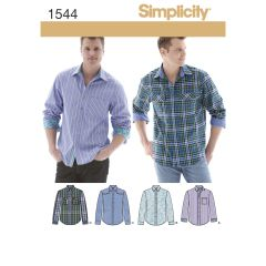 Simplicity Pattern 1544 Men`s Shirt with Fabric Variations