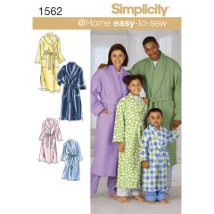 Simplicity Pattern 1562 Child`s, Teens` and Adults` Robe and Belt
