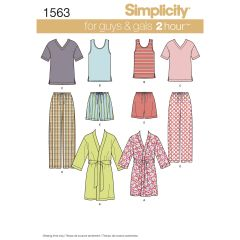 Simplicity Pattern 1563 Women`s Men`s and Teens` Sleepwear