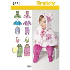 Simplicity Pattern 1564 Babies` Top, Trousers, Bib, and Blanket Wrap