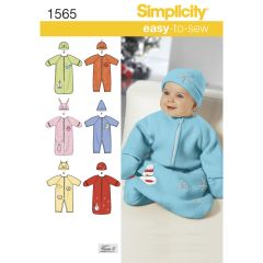 Simplicity Pattern 1565 Babies` Bunting, Romper and Hats