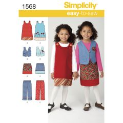Simplicity Pattern 1568 Child`s Jumper, Vest, Trousers and Skirt