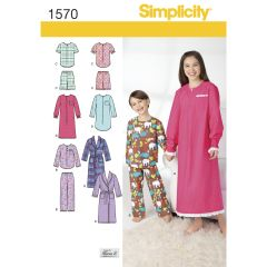 Simplicity Pattern 1570 Child`s, Girls`, and Boys` Loungewear