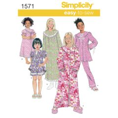 Simplicity Pattern 1571 Child`s and Girl`s Loungewear Separates