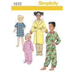Simplicity Pattern 1572 Toddlers` and Child`s Sleepwear and Robe