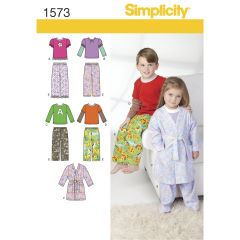 Simplicity Pattern 1573 Toddlers` and Child`s Loungewear