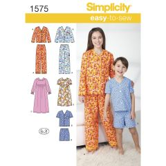 Simplicity Pattern 1575 Child`s, Girl`s and Boy`s Loungewear