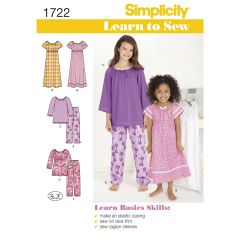 Simplicity Pattern 1722 Learn to Sew Child`s and Girl`s Loungewear